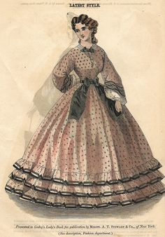 """VINTAGE FASHION PRINT DESCRIPTION This hand colored lithograph print is from """"GODEY'S LADY'S BOOK"""". It was published in New York in about 1860. CONDITION This print has an image that is about 7"""" x 5 1"""