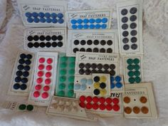 Vintage Silk Covered Snap Fastener Card Lot of Assorted Colors Japan Korea NOS