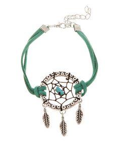 Look at this #zulilyfind! Silvertone & Aquamarine Dreamcatcher Bracelet #zulilyfinds