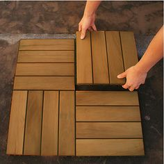 Outdoor IPE Deck Tile - no nails, staples or glue. Can be removed, rearranged, or re-used in a different area. Clever!