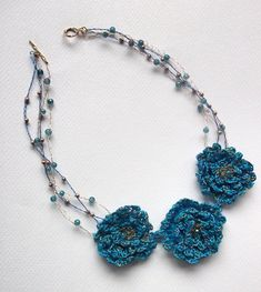 Crocheted Flower Necklace Mixed Media  One of A by GossamerTangles