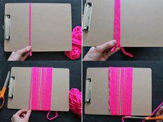 yarn tassel steps 1-4