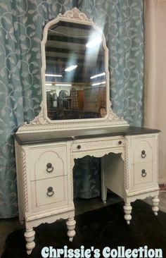 General Finishes Antique White paint, Van Dyke Brown glaze effects, Java gel