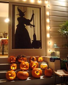 hijustjames adapted our witch silhouette by placing her just inside the doorframe, guarded by a cast of creepy pumpkins.