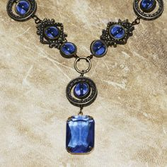 Neo Victorian Jewelry Set - Necklace with Earrings and Bracelet - Light Sapphire