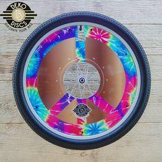Brown Tie Dye Peace Sign Deko Disc