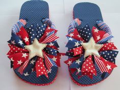 Girls+Red+White+and+Blue+Flip+Flops+by+laladivabowtique+on+Etsy,+$18.00  Cute for a Summer Bar-B-Q