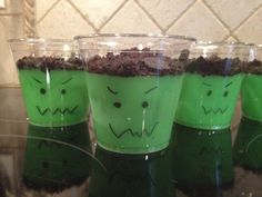 Franken pudding.  Vanilla pudding + green food coloring  Top with Oreo crumbs  in a clear cup, draw on the Frankenstein face.  Easy, fun Halloween (or Frankenstorm) dessert!!