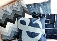 recycled denim throw pillows by Ashbee Designs