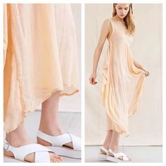 """Urban outfitters beachy gauze cotton dress NWT 179 Urban outfitters Dress. Peach color midi or long depending on your height. 100% cotton NWT $179 One size fits all.  Dreamy woven dress, handmade by artisans in Guatemala for Proud Mary. Cut in an airy silhouette in soft + lightweight fabric with a scoop neck and gathering at ribs. Made from recycled materials. Content + Care  - Recycled materials  - Hand wash  - Imported  Size one size fits all - Model is 5'9"""" Urban Outfitters Dresses Maxi"""