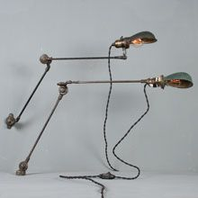 Pair of McCrosky Articulated Lights w/Green Shades, c1920