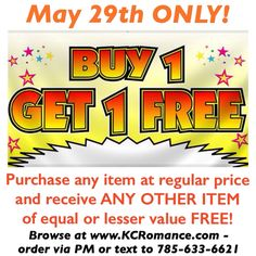 TODAY ONLY!  This is a perfect time to stock up or get that item you've had your eye on!  Order must be placed by 10pm Central on Sunday, May 29th!  Great friends share fabulous money-saving deals with their friends.....  ;-)