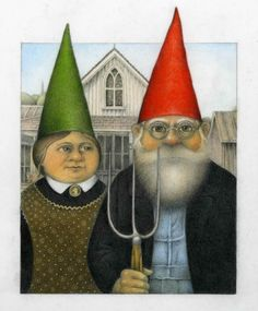 A collection of parodies of the 1930 Grant Wood painting, American Gothic, based on my grandmother's collection. American Gothic Painting, American Gothic Parody, American Art, Grant Wood Paintings, Wayne Anderson, Funny Gnomes, Iowa, Baumgarten, Mona Lisa