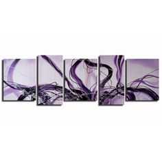 bedroom @Overstock - With colors of purple and black, this abstract oversized canvas art is hand painted with oils. In five pieces that accent one another, this amazing art will decorate your entire room. Each piece is unique and features the artists signature.http://www.overstock.com/Home-Garden/Hand-painted-Abstract-Oil-Painting-Unframed-Original-Art/4126070/product.html?CID=214117 $71.99