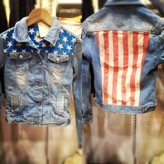 diy american jean jacket. thrift store jean jacket + fabric paint = awesome american pride.