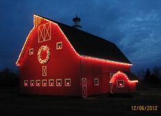 Country christmas, lights on barn. Country Christmas, Outdoor Christmas, Christmas Lights, Red Christmas, Christmas Time, Christmas Lodge, Hallmark Christmas, Christmas Pictures, Christmas Cards