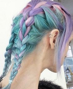 mixed pastels coloured hair