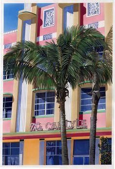 Hotel Carlyle, Miami Beach. Gouache.