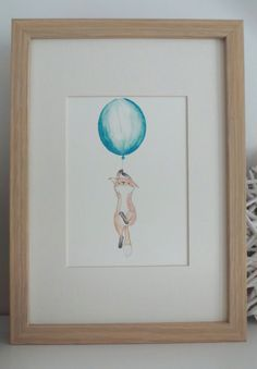 Nursery art - Baby nursery decor -Nursery print -kids art- Floating fox illustration with blue or yellow balloon(15x21cm) on Etsy, $13.09