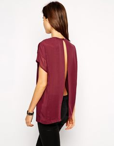 ASOS Top with Chiffon Layer and Open Back