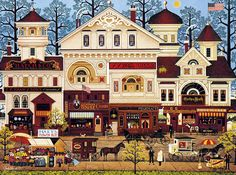 Victorian Street 1 - Counted cross stitch pattern in PDF format by Maxispatterns on Etsy