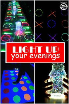 Light Up Your Evenings! Spend your summer evenings outside with the help of a few glow sticks. There are many ways to Light Up your Evenings with these fun family activities! Summer Activities For Kids, Party Activities, Family Activities, Crafts For Kids, Indoor Activities, Camping Games For Kids, Diy Party Games, Backyard For Kids, Backyard Games