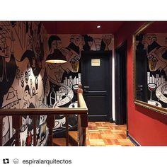#Repost @espiralarquitectos with @get_repost ・・・ Hall de espera de baños en segundo piso - Restaurant @joseramon_277 / @vitacura_ | Arquitectura: @espiralarquitectos | Construcción : José Luis Oportot | Mural interior: @antoniaboza / @caiozzama | iluminación: @casaluze / @interlightchile ||| #santiago #chile #vitacura #restaurant #restaurante #refurbishment #architecture #arquitectura #interiordesign #interiors #food #infographic #axonometric #graphicdesign @act.of.mapping @archdaily…