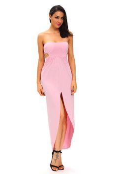Pink Draped Hollow-out Maxi Dress modeshe.com