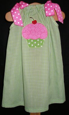 Pillowcase dress with Cupcake applique! <3