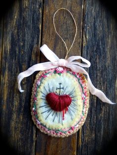 Sacred Heart... Needle Felted & Hand Embroidered, Modeled after Vintage French Scalpular