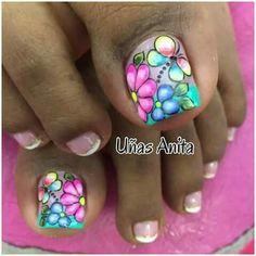 decoracion de uñas de pies - Buscar con Google Aycrlic Nails, Pedicure Nails, Toenails, Pedicures, Pedicure Designs, Toe Nail Designs, French Nails, Summer Toe Nails, Magic Nails