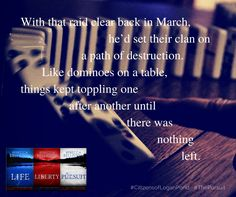 Like dominoes on a table, things kept toppling one after another until there was nothing left. The Pursuit by Rebecca Belliston Collapse Of America, Path Of Destruction, A Table, Love Story, Books, Life, Livros, Livres, Book