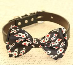 Dog bow tie, bow attached to dog collar, Red Hearts Diamonds,Poker, Alice In Wonderland, Dog lovers, Ace, Playing card, Red and Black