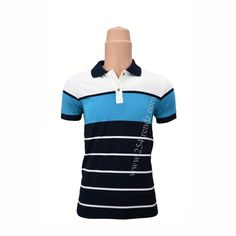 Navy Blue with White Stripes Polo T-shirt at Kshs.2500