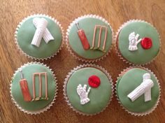 Father's Day cricket theme cupcakes by Kim...   Cake Decorating Ideas - Find out more about Kims Cakes'Cake Decorating project Father's Day cricket theme cupcakes on Craftsy! - via @Craftsy