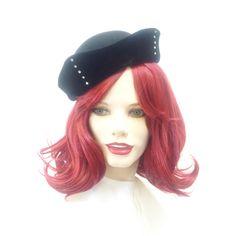 STETSON Ladies 1960s Black Fur Felt & Black Velvet Sailor/Breton Style Hat…