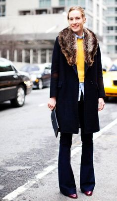 Flare leg jeans with a nice shirt and a wool jumper <3