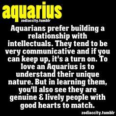 Aquarians prefer building a relationship with intellectuals.