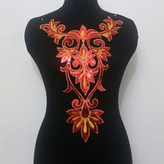 1Pcs Collar Neck Embroidery Sequined Applique/Patch Motif Trims Red Gold Sew On