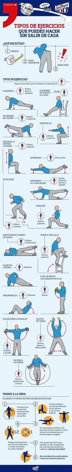 ¿No tienes tiempo de ir al gimnasio? ¡No hay problema! También puedes hacer ejercicios desde casa. | 17 Guías visuales de ejercicio que te motivarán a ponerte en forma