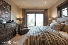 Guest Bedroom in this mountain home in Park City, Utah by Cameo Homes Inc. Park City Home Builders.