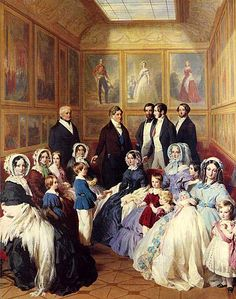 Franz Xaver Winterhalter  Queen Victoria and Prince Albert with the Family  of King Louis-Philippe at the Chateau D'Eu: 1845