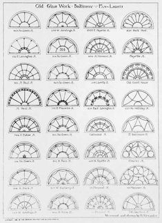 Architectural Drawing Patterns ARCHI/MAPS — Renderings of Georgian Fan Lights, Baltimore - Classic Architecture, Gothic Architecture, Architecture Details, Mandala Art Lesson, Mandala Drawing, Design Elements, Design Art, Stained Glass Patterns, Architectural Elements