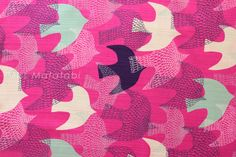 Japanese Fabric  cotton dobby birds  mint and by MissMatatabi, $6.00