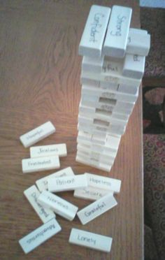 Feelings Jenga: Draw a block and describe a time youve experienced this emotion. This would be great for our grief camp! Also cited w/more info@ http://elementaryschoolcounselingresources.blogspot.com/2013/01/feelings-jenga-this-is-activity-i-use.html