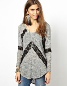 Free People Hacci Lace Top in Heather Grey/Black Lace