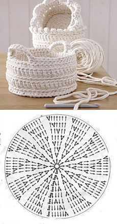 Handmade: Crochet baskets - 37 designs and . - DIY Handmade: Crochet baskets - 37 designs and . -DIY Handmade: Crochet baskets - 37 designs and . - DIY Handmade: Crochet baskets - 37 designs and . Crochet Bowl, Crochet Basket Pattern, Diy Crochet, Crochet Crafts, Crochet Projects, Crochet Baskets, Crocheted Bags, Crochet Potholders, Chunky Crochet