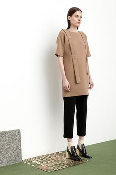 Blaise Shirt Dress in camel double crepe worn over Weber Pant in black crepe.