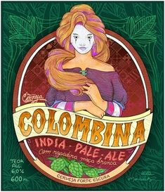 Cerveja Colombina IPA, estilo India Pale Ale (IPA), produzida por Cervejaria Goyaz, Brasil. 6% ABV de álcool.