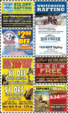 Smoky Mountains - Pigeon Forge Coupons - Gatlinburg Discount Coupons Gatlinburg Coupons, Smoky Mountains Attractions, Tupperware Recipes, Mountain Vacations, Tennessee Vacation, Shopping Coupons, Pigeon Forge, Discount Coupons, Rafting
